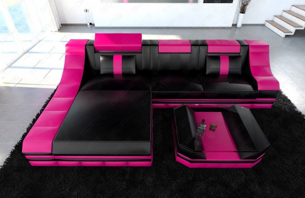 luxury leather sofa turino l shape with led light corner couch black pink ebay. Black Bedroom Furniture Sets. Home Design Ideas