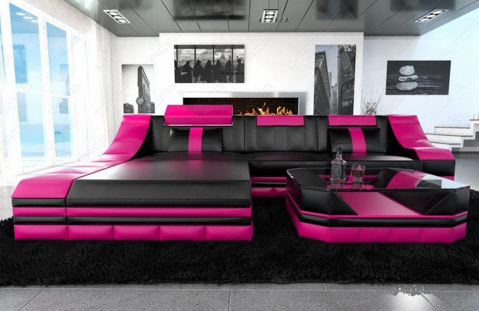 luxury leather sofa turino l shape with led light corner couch black pink ebay. Black Bedroom Furniture Sets. Home Design Ideas