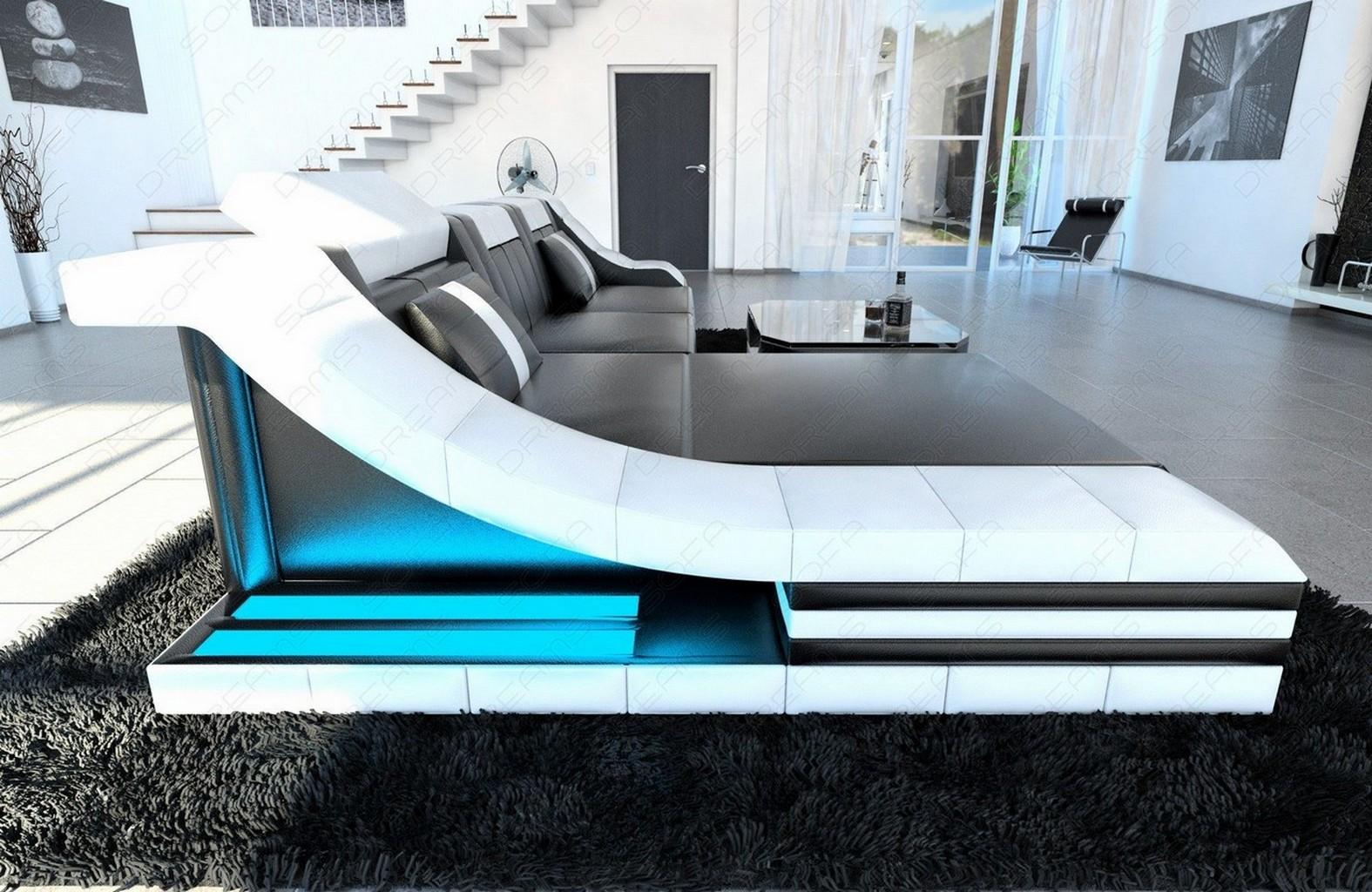 Ledersofa Designersofa TURINO L-Form mit LED RGB Beleuchtung ...