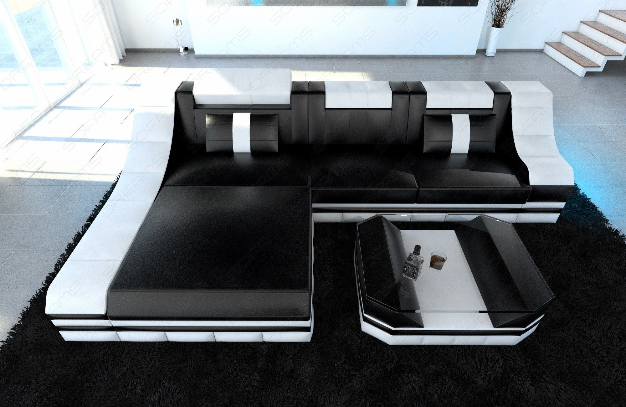 luxury sectional sofa turino l shape with led black white. Black Bedroom Furniture Sets. Home Design Ideas