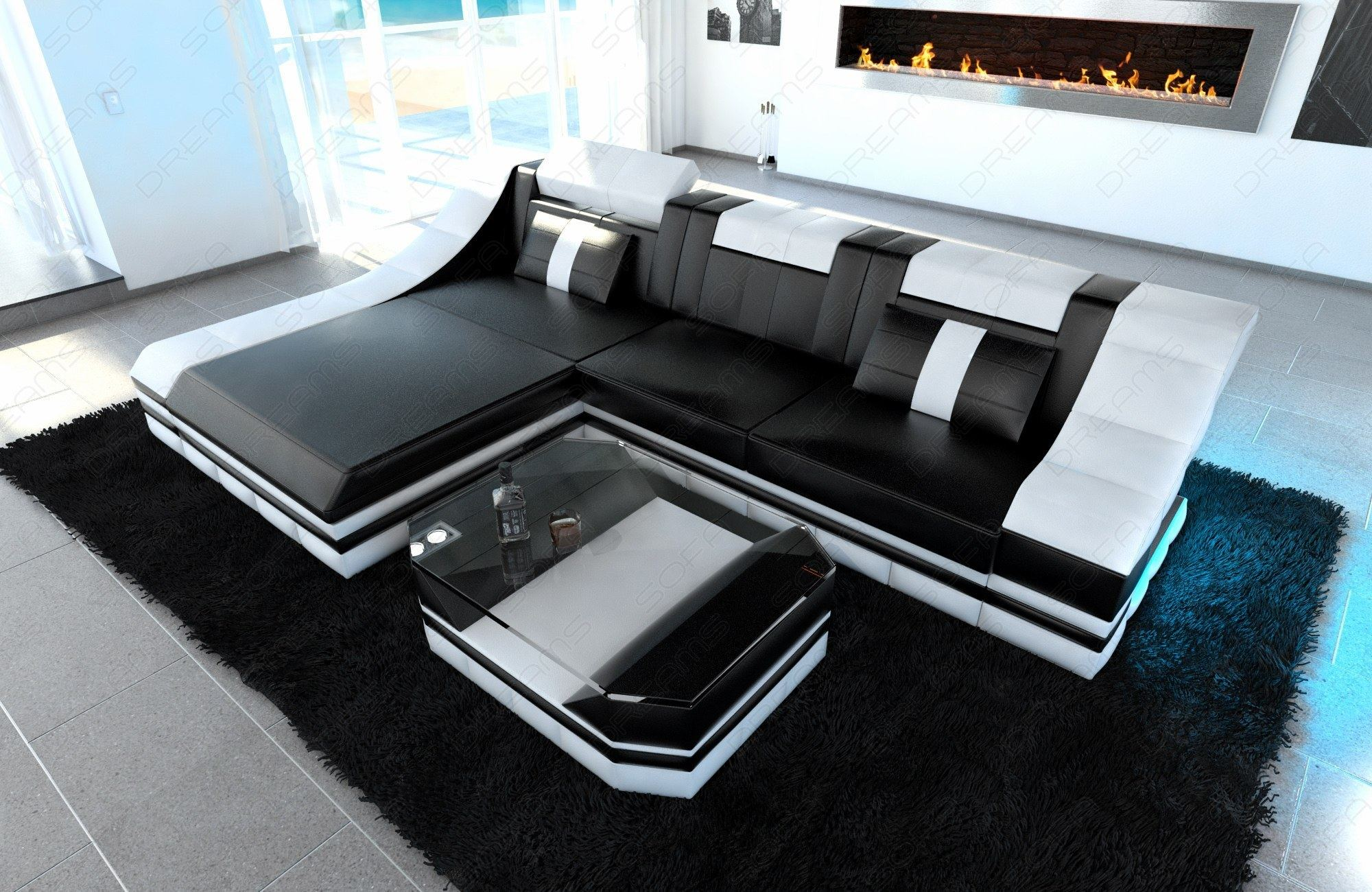 luxury sectional sofa turino l shape with led black white ebay. Black Bedroom Furniture Sets. Home Design Ideas