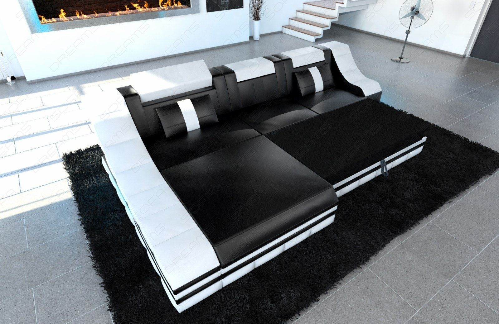 Luxury sectional sofa turino l shape with led grey black for Sofa l form mit schlaffunktion