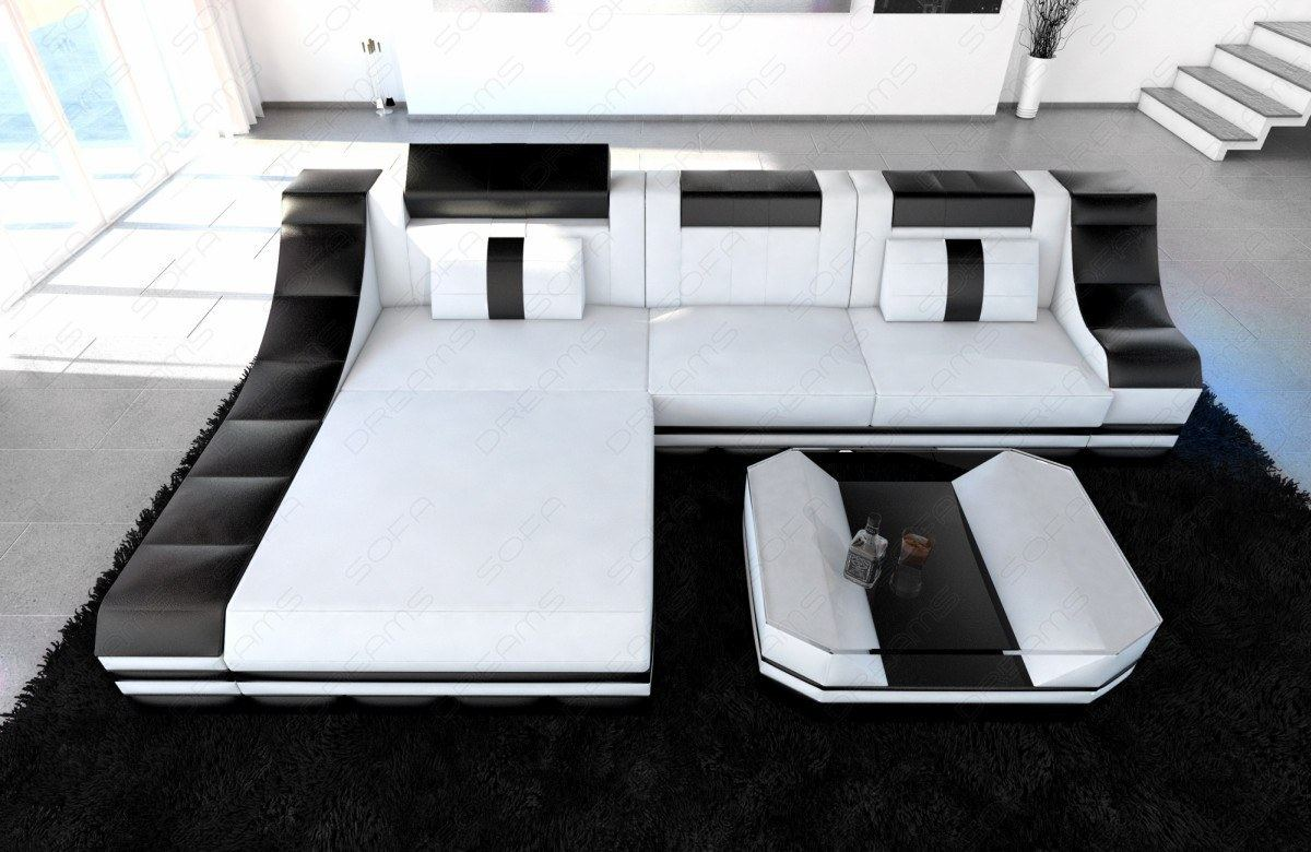 ledersofa turino l form mit led licht luxus eckcouch wei schwarz ebay. Black Bedroom Furniture Sets. Home Design Ideas