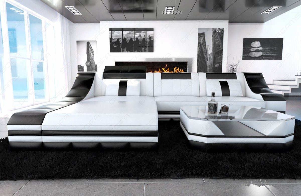 luxury sectional sofa turino l shape with led white black. Black Bedroom Furniture Sets. Home Design Ideas