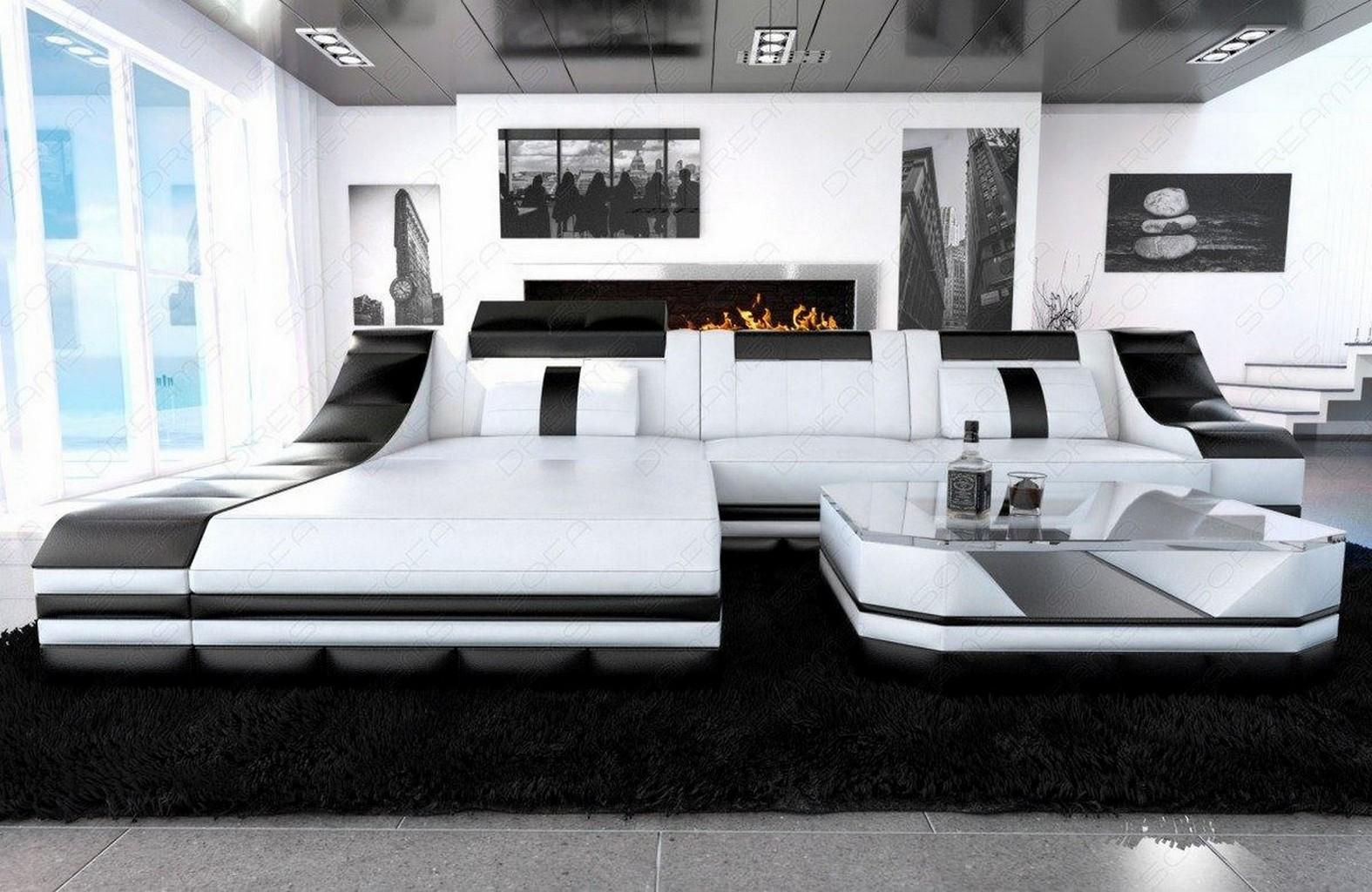 luxury sectional sofa turino l shape with led white black. Black Bedroom Furniture Sets. Home Design Ideas
