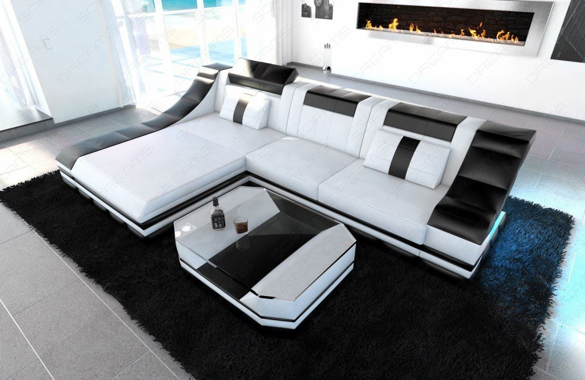 luxury sectional sofa turino l shape with led white black ebay. Black Bedroom Furniture Sets. Home Design Ideas