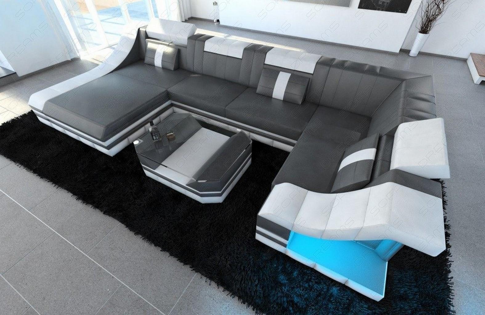 Designersofa Luxus Couch Wohnlandschaft TURINO U Form Recamiere LED ...