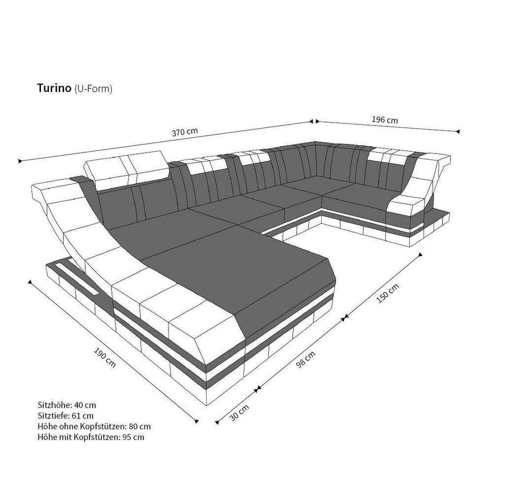 Couch u form maße  Ecksofa Wohnlandschaft TURINO U-Form mit LED RGB Beleuchtung Luxus ...