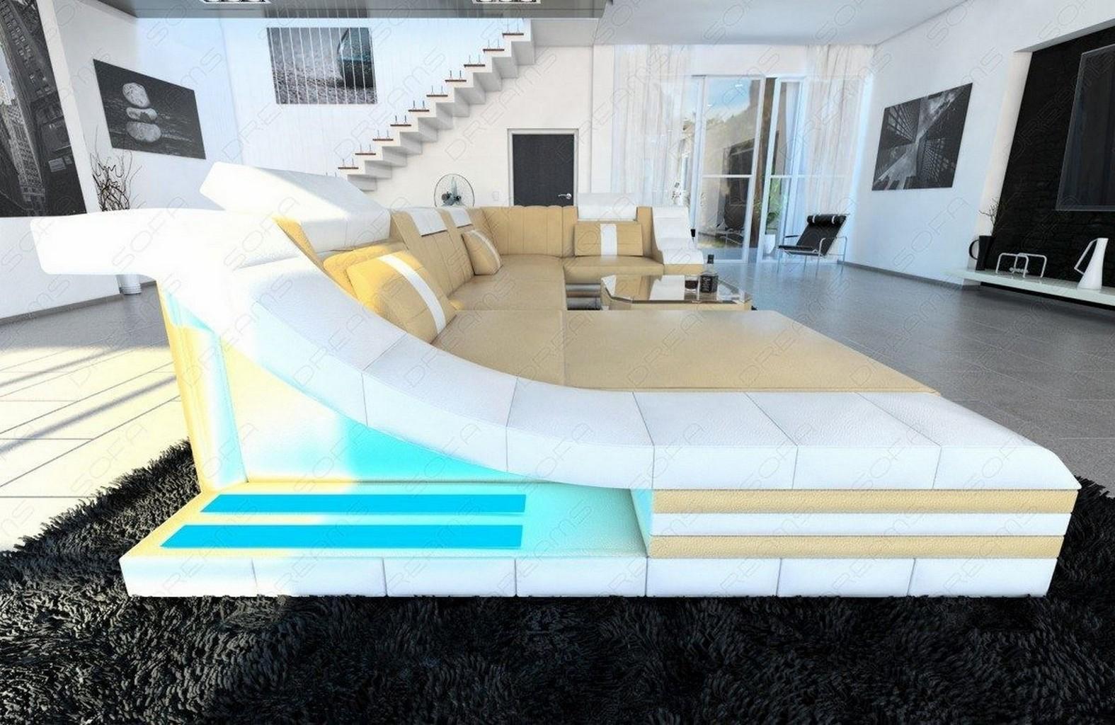 Luxus wohnlandschaft turino u form mit led rgb beleuchtung for Design ledersofa