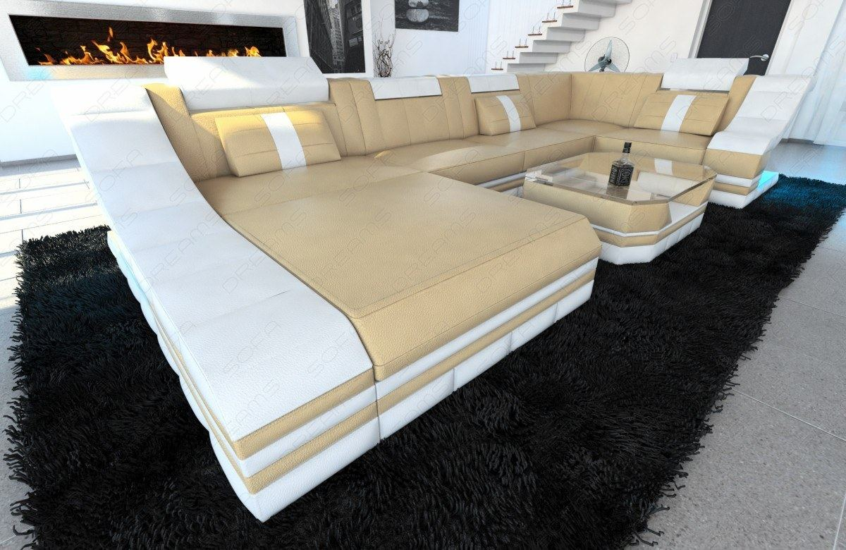 couchgarnitur wohnlandschaft turino u form mit led beleuchtung sandbeige wei ebay. Black Bedroom Furniture Sets. Home Design Ideas