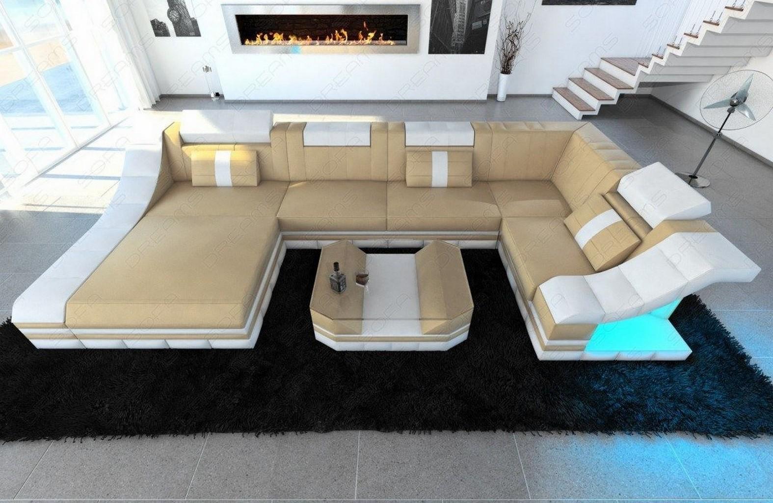 Couchgarnitur wohnlandschaft turino u form mit led for Couchgarnitur italienisches design