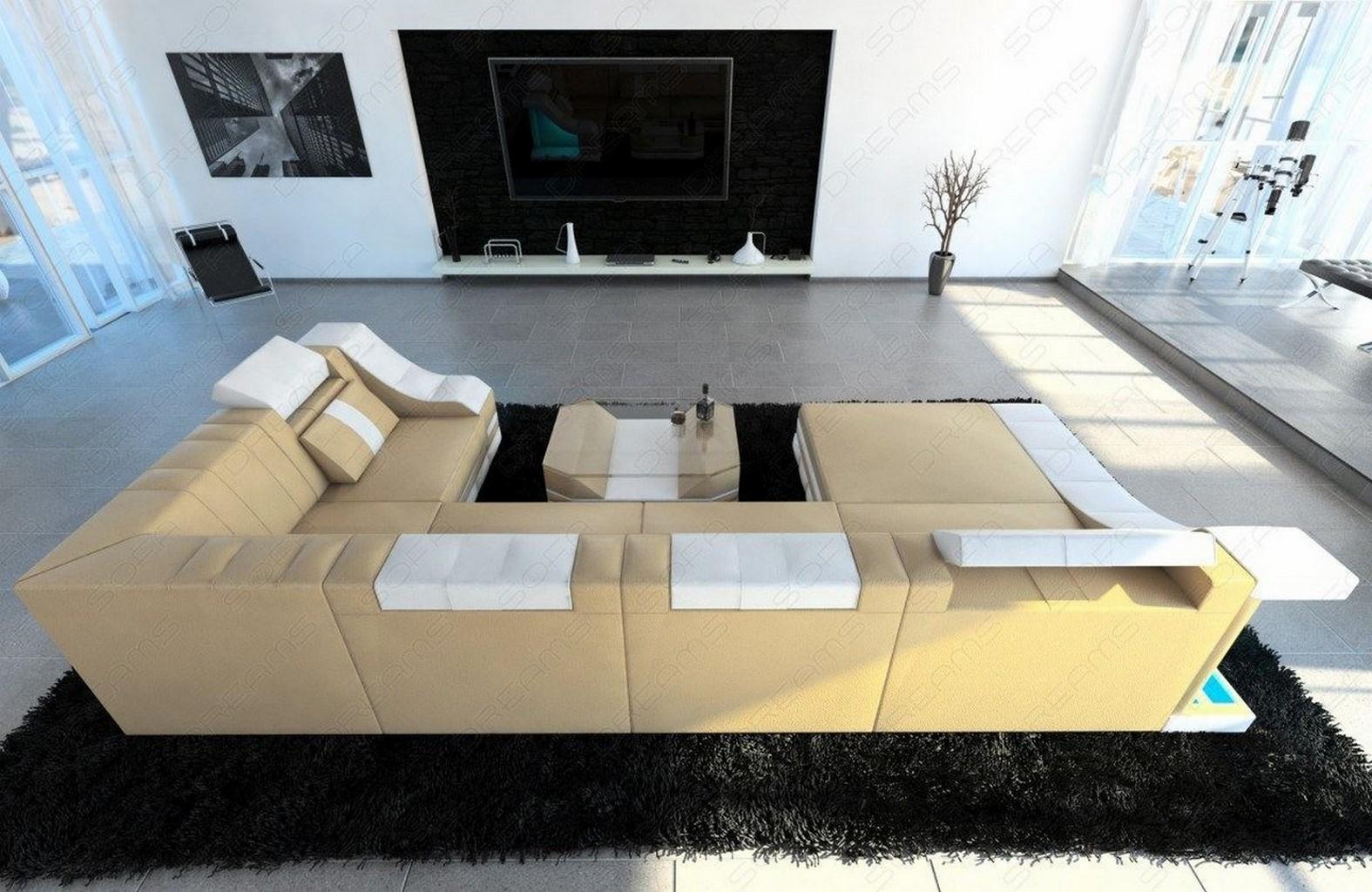 couchgarnitur wohnlandschaft turino u form mit led. Black Bedroom Furniture Sets. Home Design Ideas
