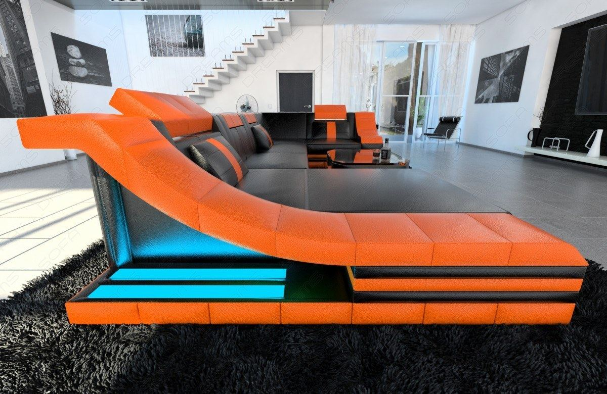 ledersofa wohnlandschaft turino u form couch mit led beleuchtung schwarz orange ebay. Black Bedroom Furniture Sets. Home Design Ideas