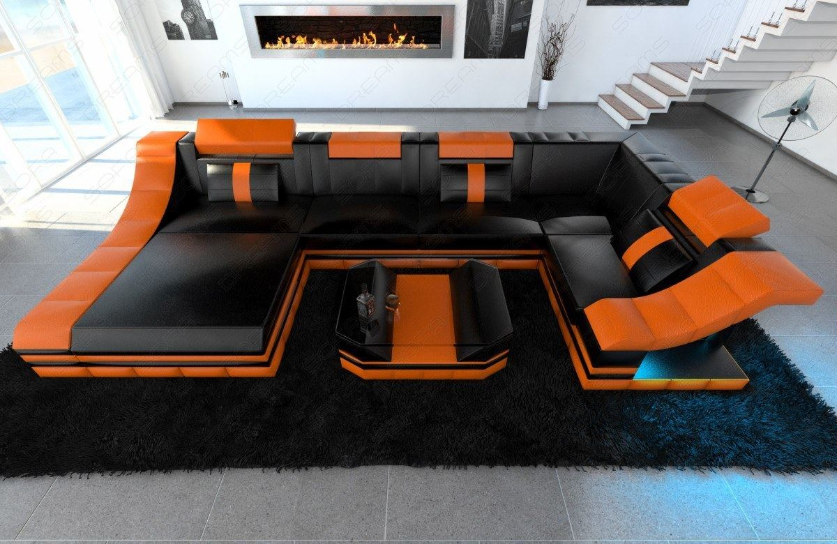 Leather Sofa Interior Design Turino U Shape With Led Lighting Black Orange Ebay