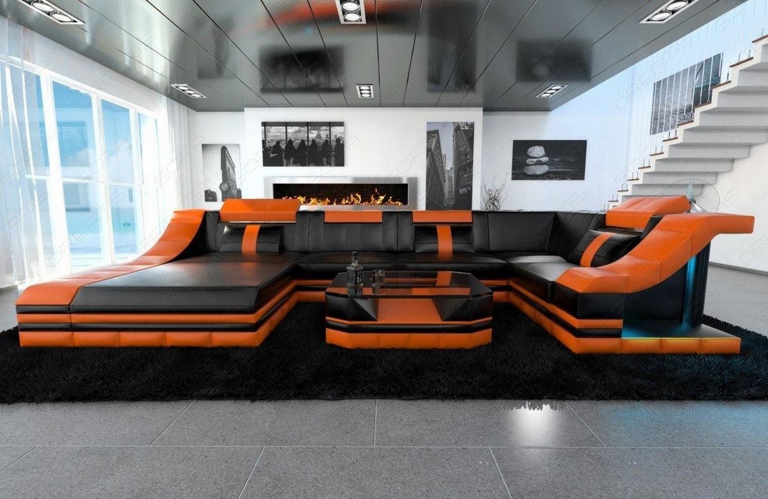 ledersofa wohnlandschaft turino u form couch mit led beleuchtung schwarz orange ebay. Black Bedroom Furniture Sets. Home Design Ideas