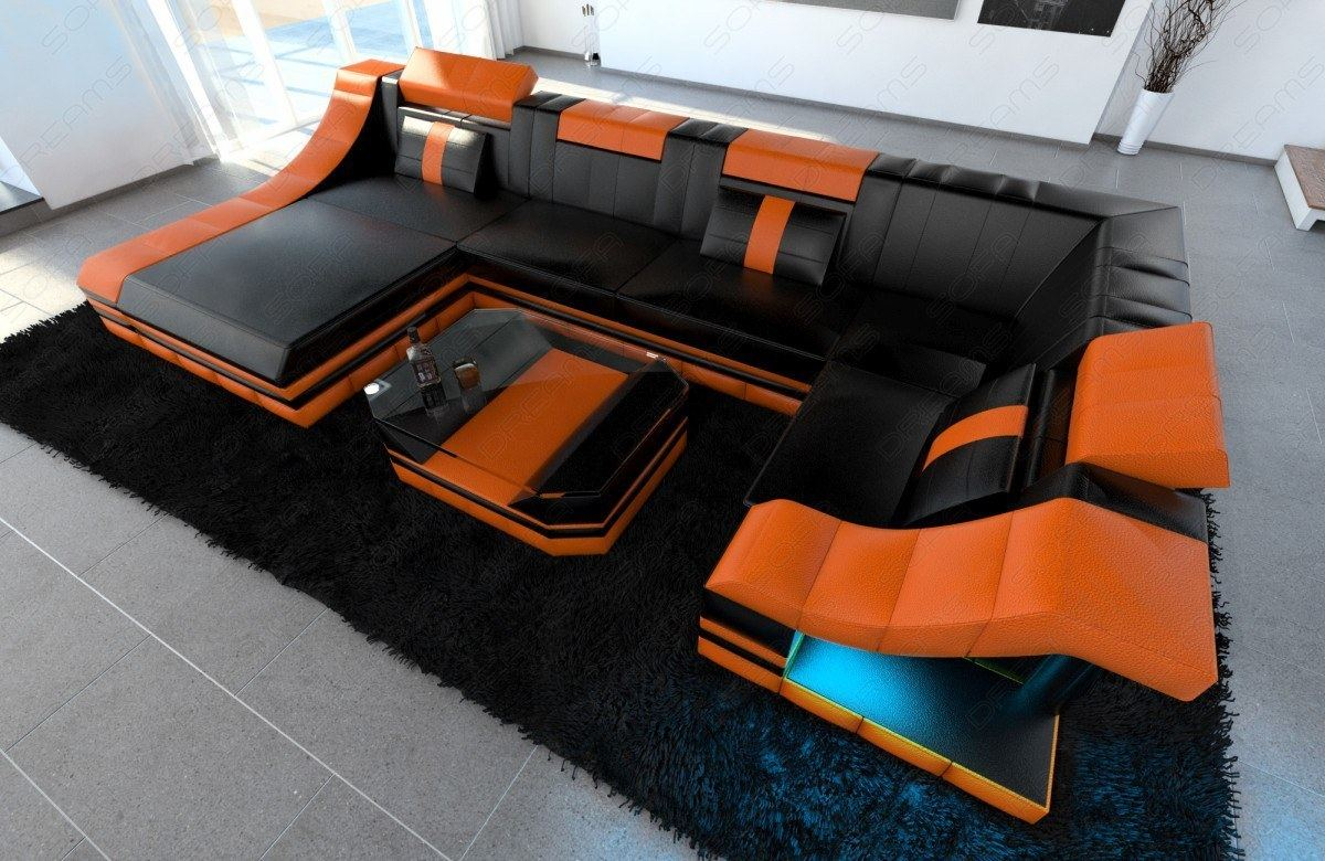 leather sofa interior design turino u shape with led lighting black orange ebay. Black Bedroom Furniture Sets. Home Design Ideas