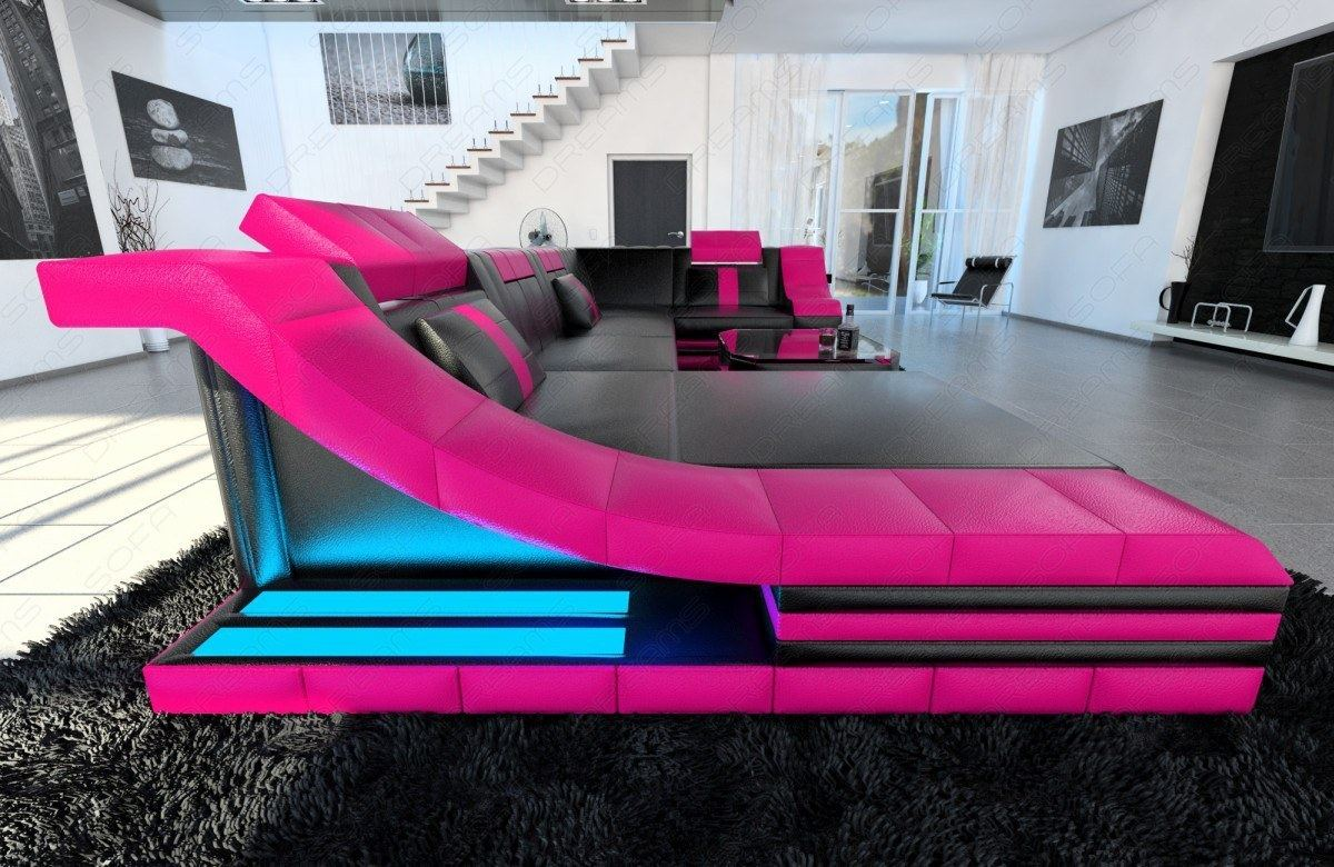 eckcouch turino u form mit led beleuchtung schwarz pink ebay. Black Bedroom Furniture Sets. Home Design Ideas