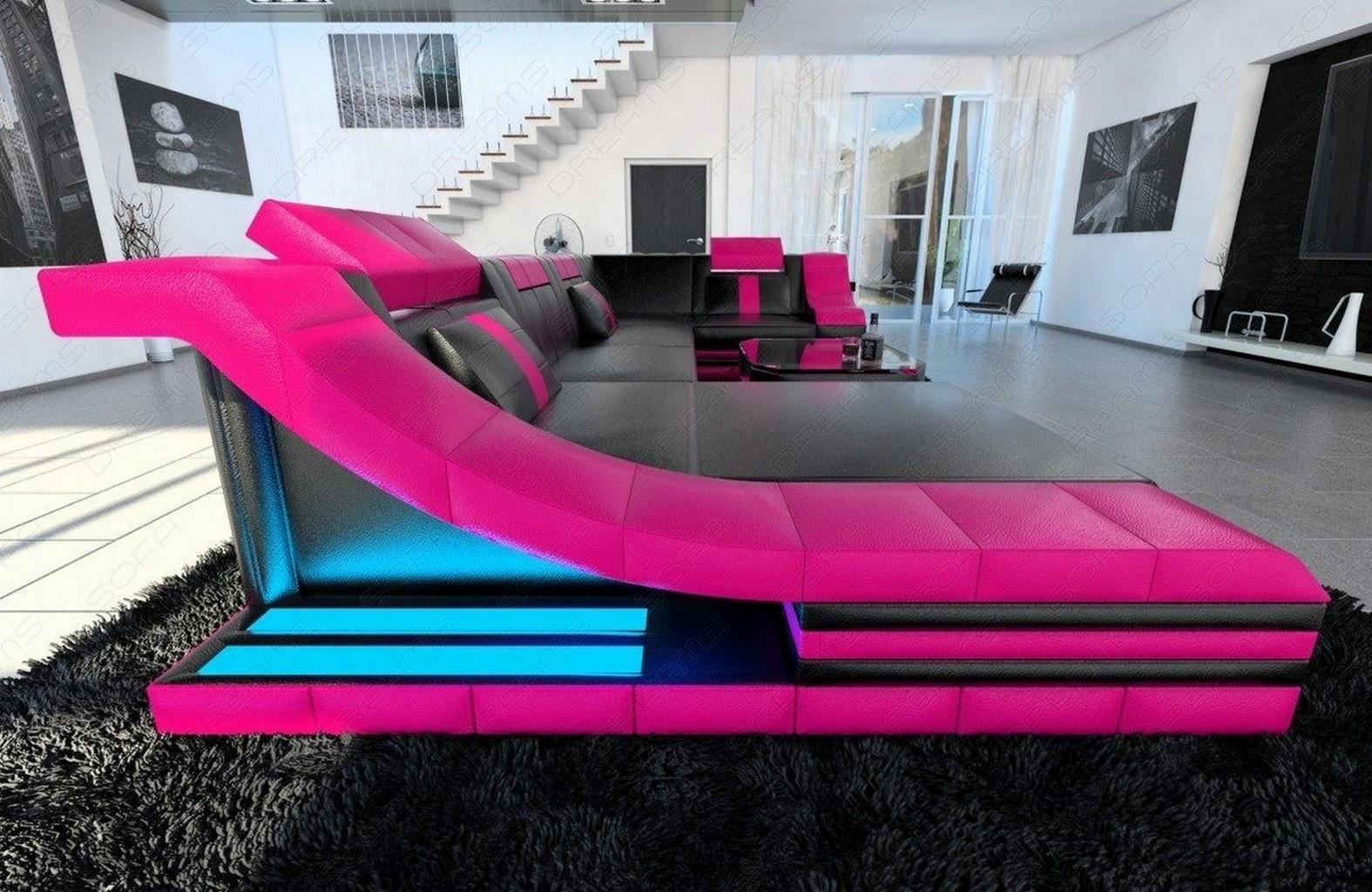 Eckcouch turino u form mit led beleuchtung schwarz pink for Eckcouch mit led