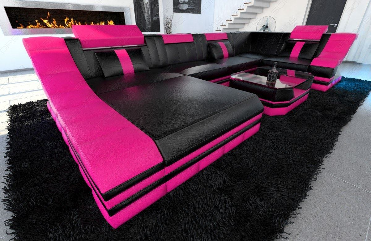 eckcouch luxus sofa turino u led beleuchtung wohnlandschaft leder schwarz pink ebay. Black Bedroom Furniture Sets. Home Design Ideas