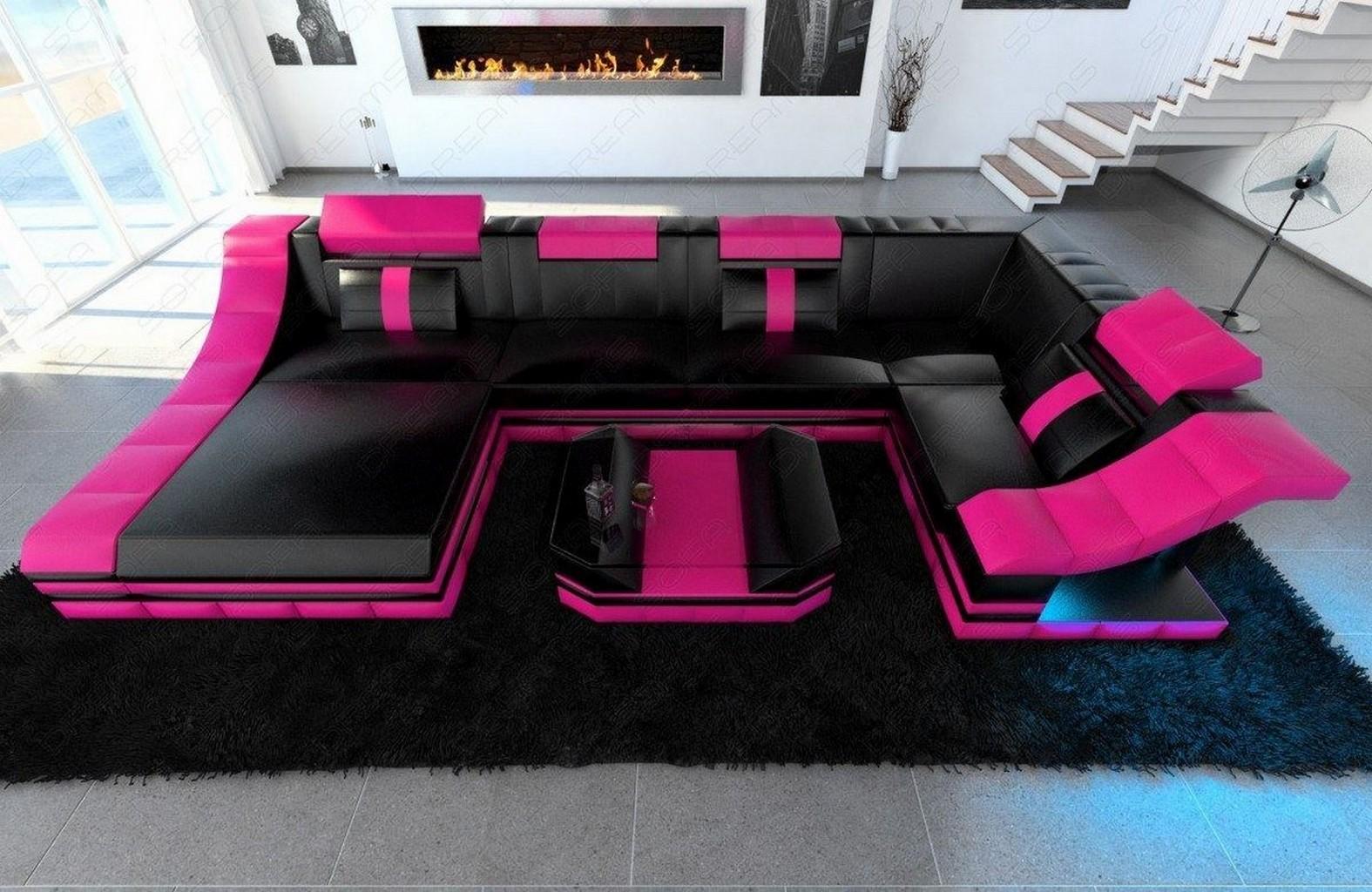designersofa moderne wohnlandschaft turino u form led rgb beleuchtung eckcouch ebay. Black Bedroom Furniture Sets. Home Design Ideas