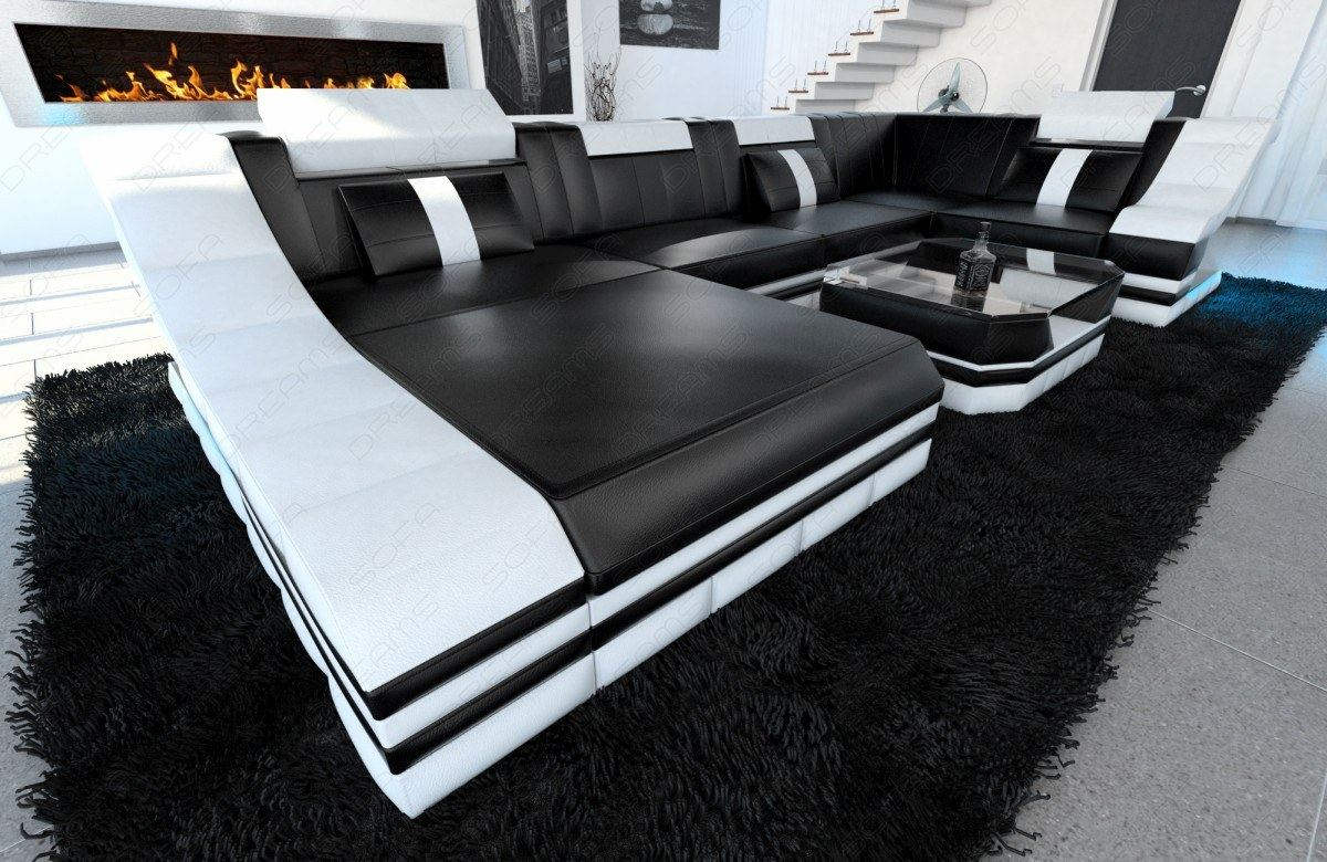 designersofa luxus couch wohnlandschaft turino u form recamiere led beleuchtung ebay. Black Bedroom Furniture Sets. Home Design Ideas