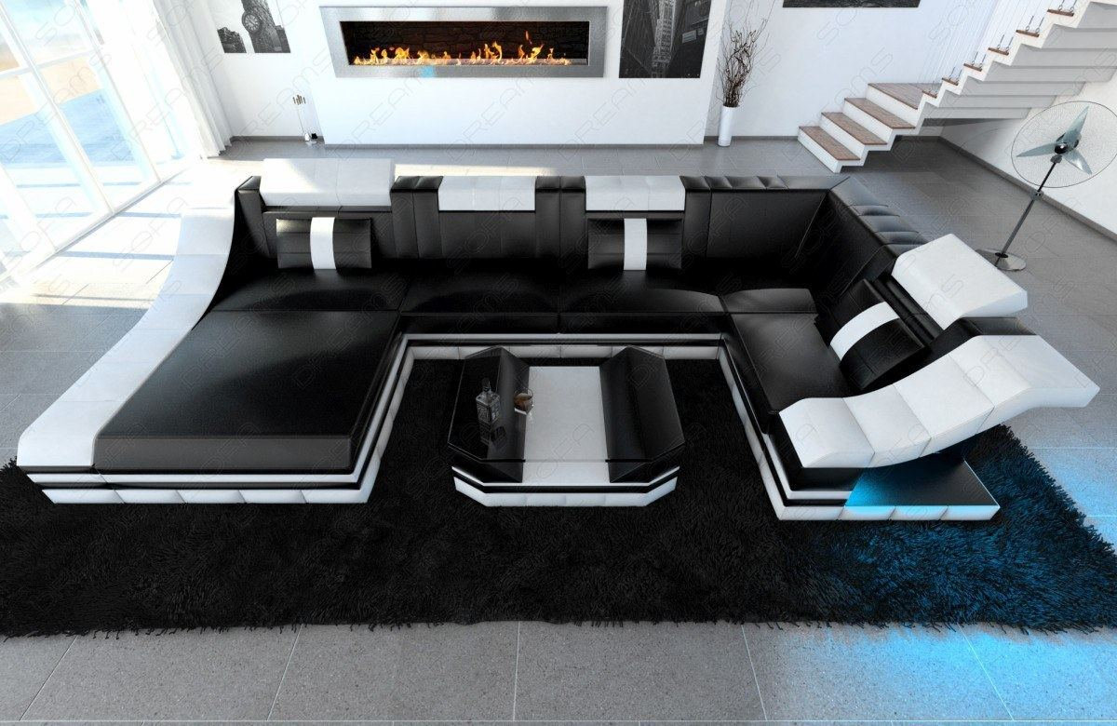 eckcouch moderne wohnlandschaft turino u form mit led beleuchtung schwarz wei ebay. Black Bedroom Furniture Sets. Home Design Ideas