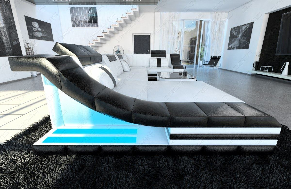ledersofa eckcouch turino u form mit led beleuchtung wei schwarz. Black Bedroom Furniture Sets. Home Design Ideas
