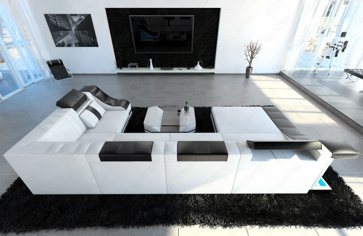 ledersofa eckcouch sofa eckcouch wohnzimmer turino u form mit led beleuchtung ebay. Black Bedroom Furniture Sets. Home Design Ideas