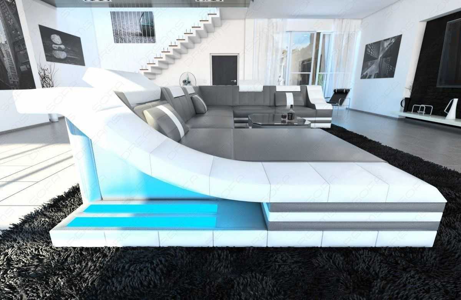 wohnlandschaft turino xxl mit led beleuchtung ledercouch. Black Bedroom Furniture Sets. Home Design Ideas