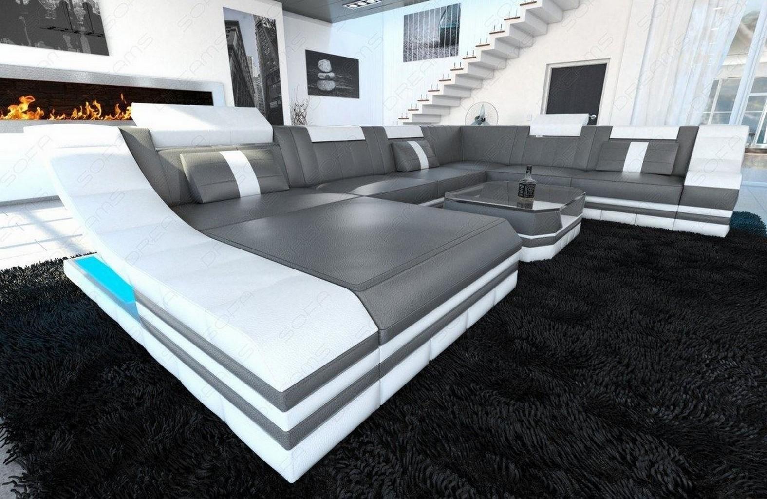 wohnlandschaft turino xl mit led beleuchtung sofa leder ledercouch grau wei ebay. Black Bedroom Furniture Sets. Home Design Ideas