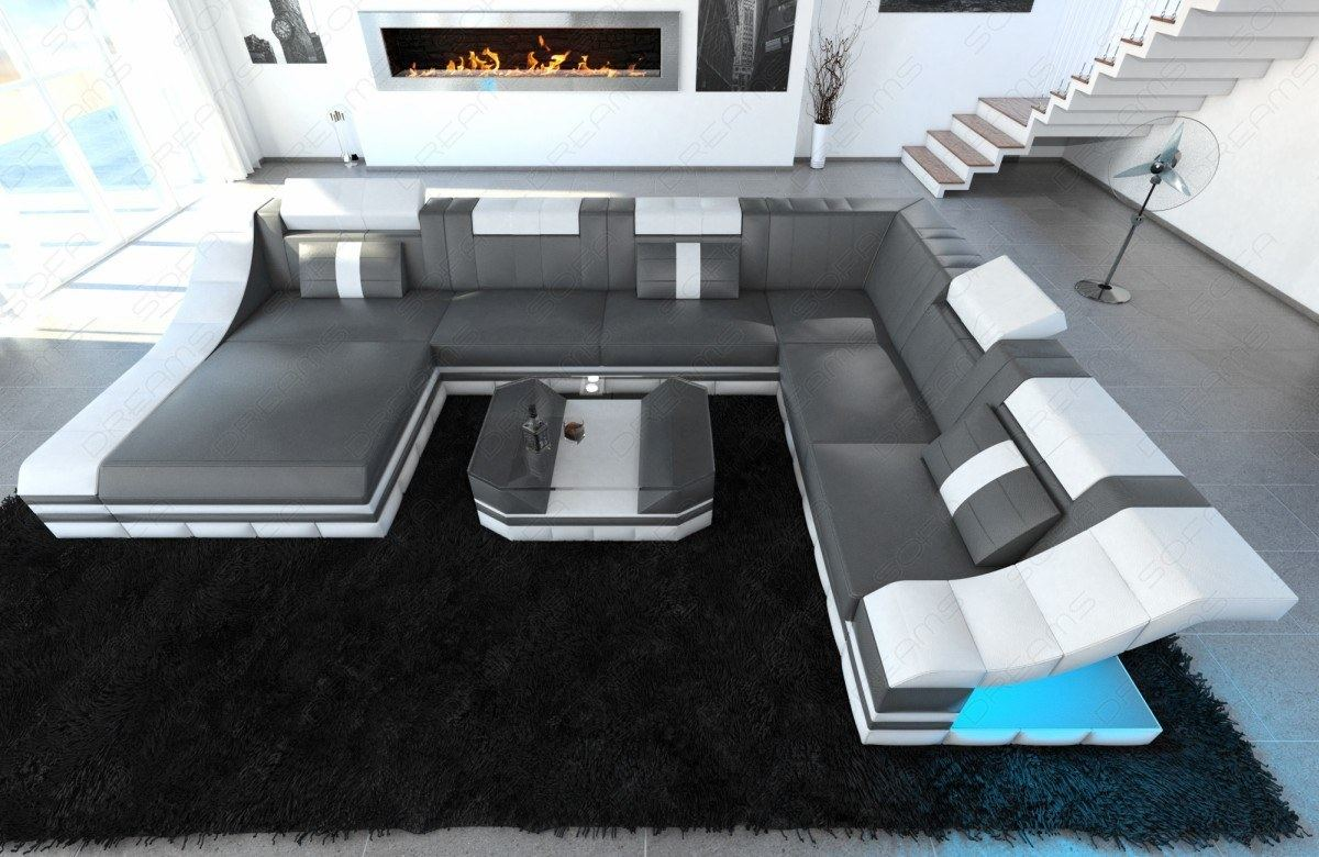 wohnlandschaft turino xxl mit led beleuchtung ledercouch grau wei ebay. Black Bedroom Furniture Sets. Home Design Ideas