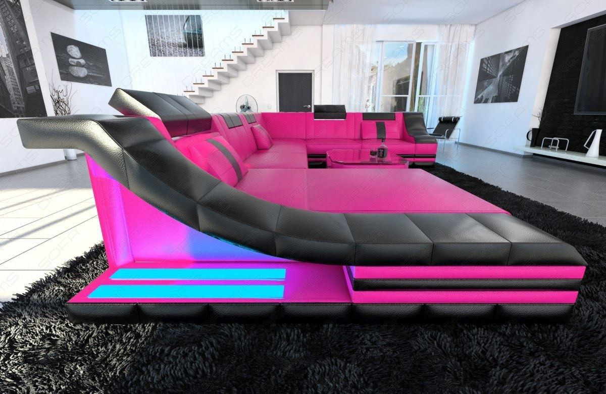 corner sofa turino xxl with led lighting leather couch. Black Bedroom Furniture Sets. Home Design Ideas