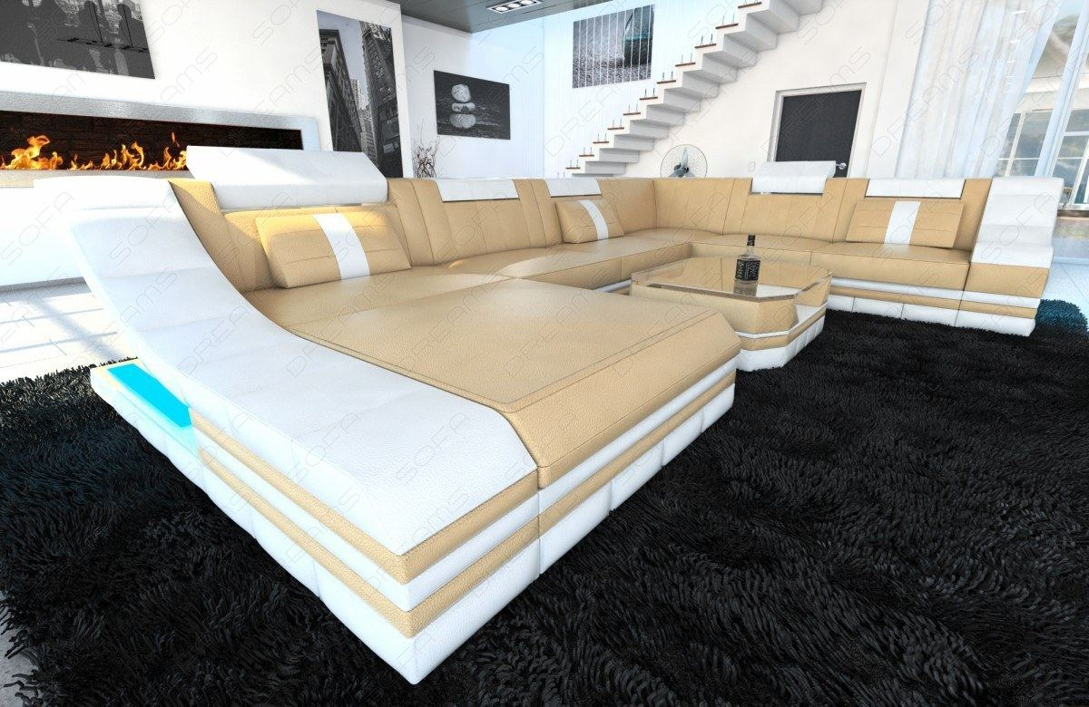 ledersofagarnitur sofa turino xxl mit led beleuchtung ledercouch sandbeige wei ebay. Black Bedroom Furniture Sets. Home Design Ideas