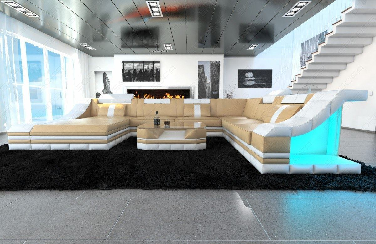 Leather Sofa Set Sofa Turino Xxl With Led Lighting Leather Couch Sand Beige White Ebay