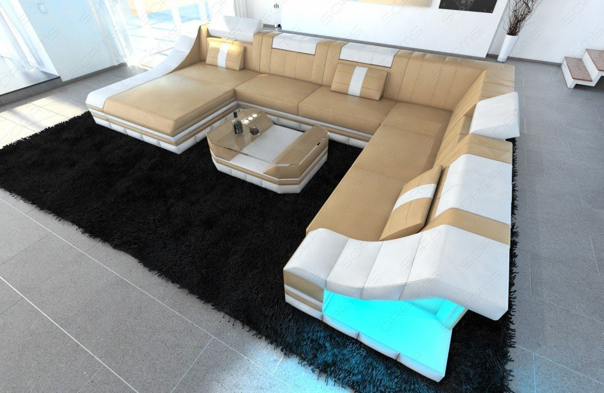 Leather sofa set sofa turino xxl with led lighting leather for Couch wohnlandschaft xxl
