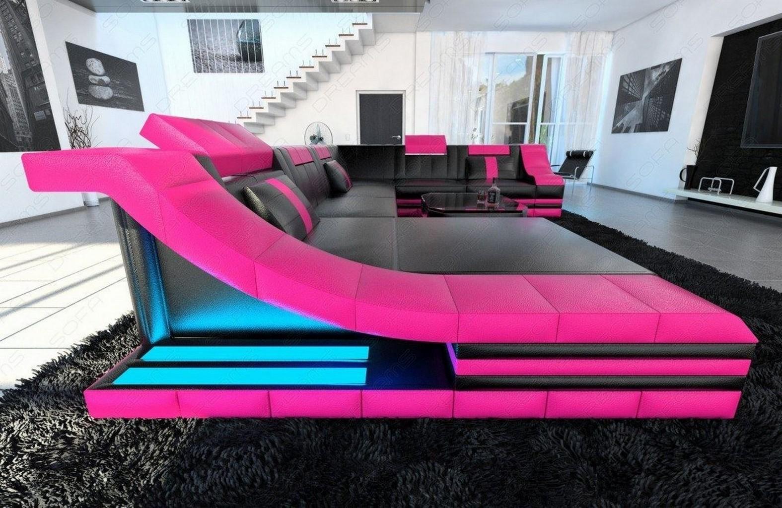 designersofa leder wohnlandschaft turino xxl mit led. Black Bedroom Furniture Sets. Home Design Ideas