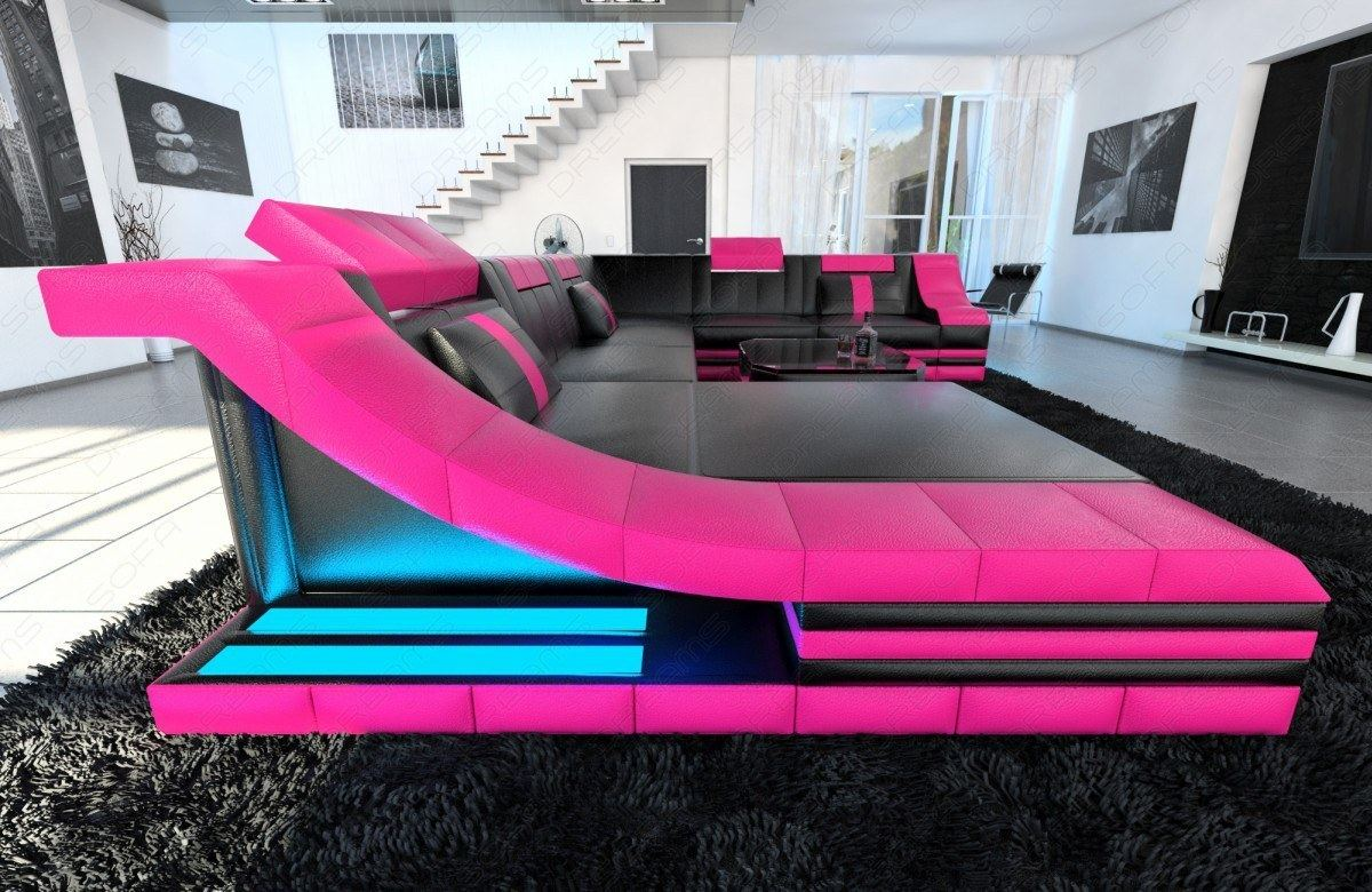designersofa leder wohnlandschaft turino xxl mit led beleuchtung ledercouch sofa ebay. Black Bedroom Furniture Sets. Home Design Ideas