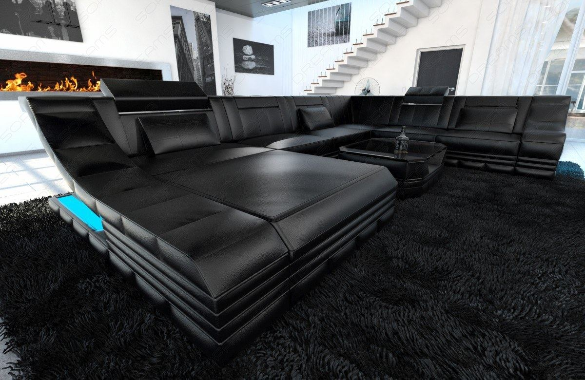 ledercouch mega wohnlandschaft turino xxl mit led. Black Bedroom Furniture Sets. Home Design Ideas