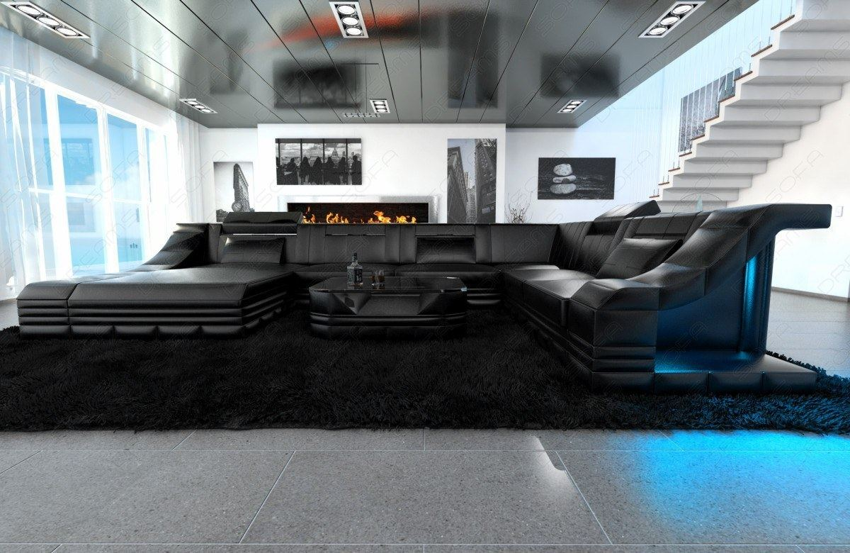 ledercouch wohnlandschaft turino xxl luxussofa recamiere led beleuchtung schwarz ebay. Black Bedroom Furniture Sets. Home Design Ideas