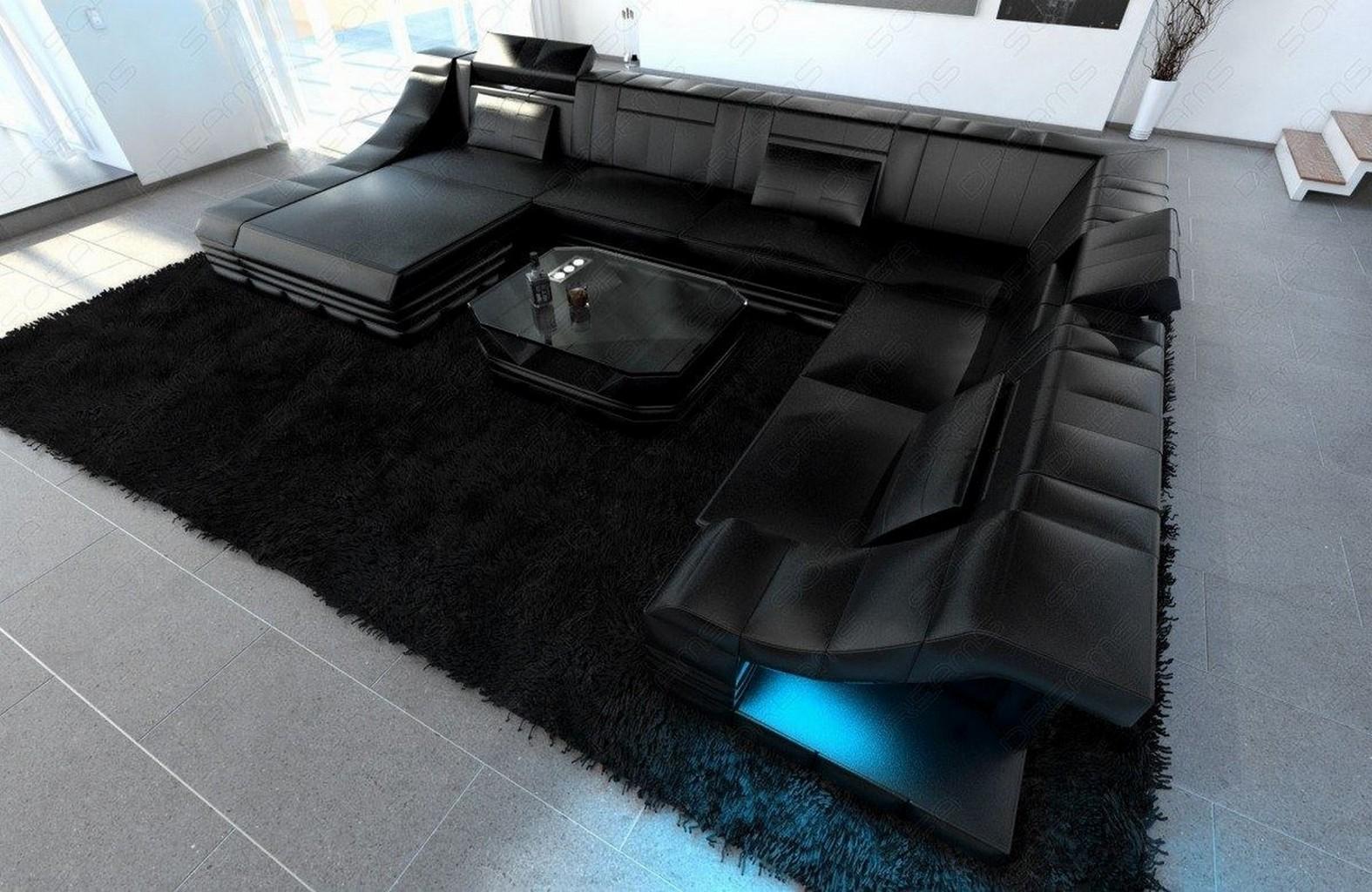 ledercouch wohnlandschaft turino xxl luxussofa recamiere led beleuchtung schwarz ebay. Black Bedroom Furniture Sets. Home Design Ideas
