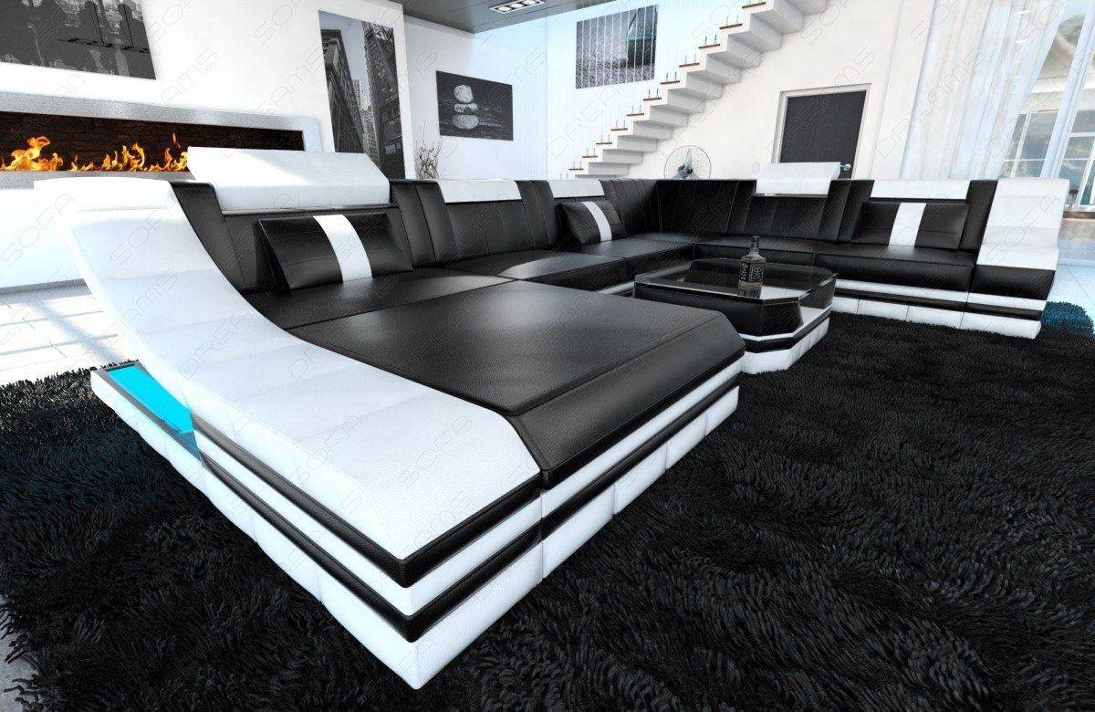 leather sofa set turino xxl with led lighting leather. Black Bedroom Furniture Sets. Home Design Ideas