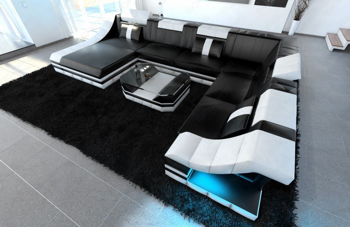 Leather Sofa Set Turino Xxl With Led Lighting Leather Couch Black White Ebay