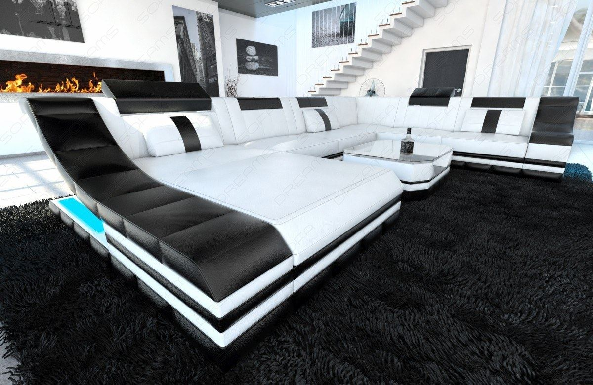 designersofa turino xxl mit led beleuchtung ledercouch wei schwarz ebay. Black Bedroom Furniture Sets. Home Design Ideas