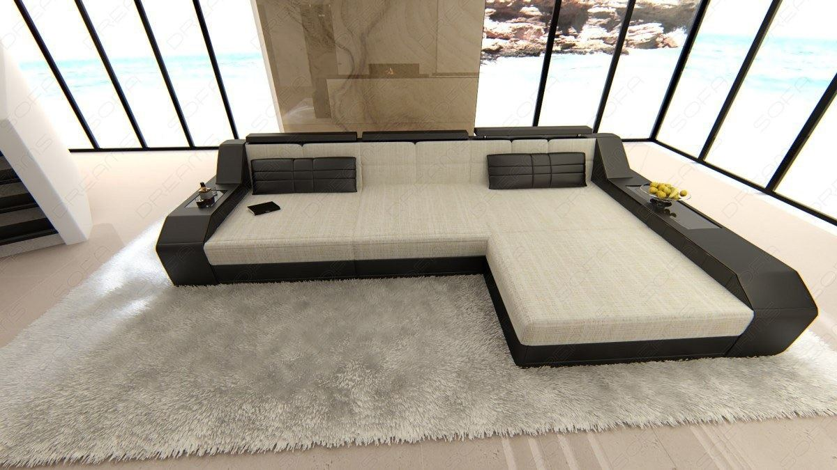 Stoffcouch polstersofa materialmix arezzo l design ecksofa - Couch beleuchtung ...