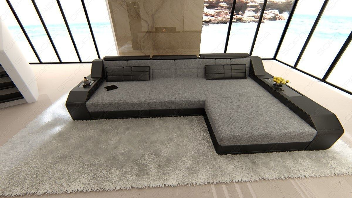 Details About Fabric Luxury Couch Houston L Shape Designer Sofa With Led Lights