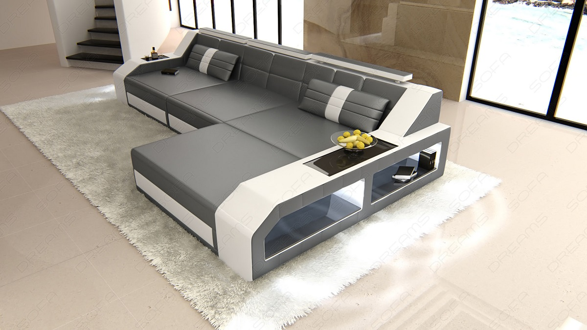 modern sectional sofa arezzo l shaped with led lights grey. Black Bedroom Furniture Sets. Home Design Ideas