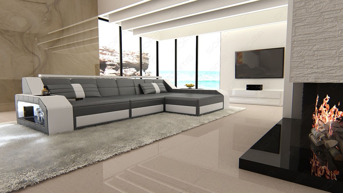 modern sectional sofa arezzo l shaped with led lights grey white ebay. Black Bedroom Furniture Sets. Home Design Ideas