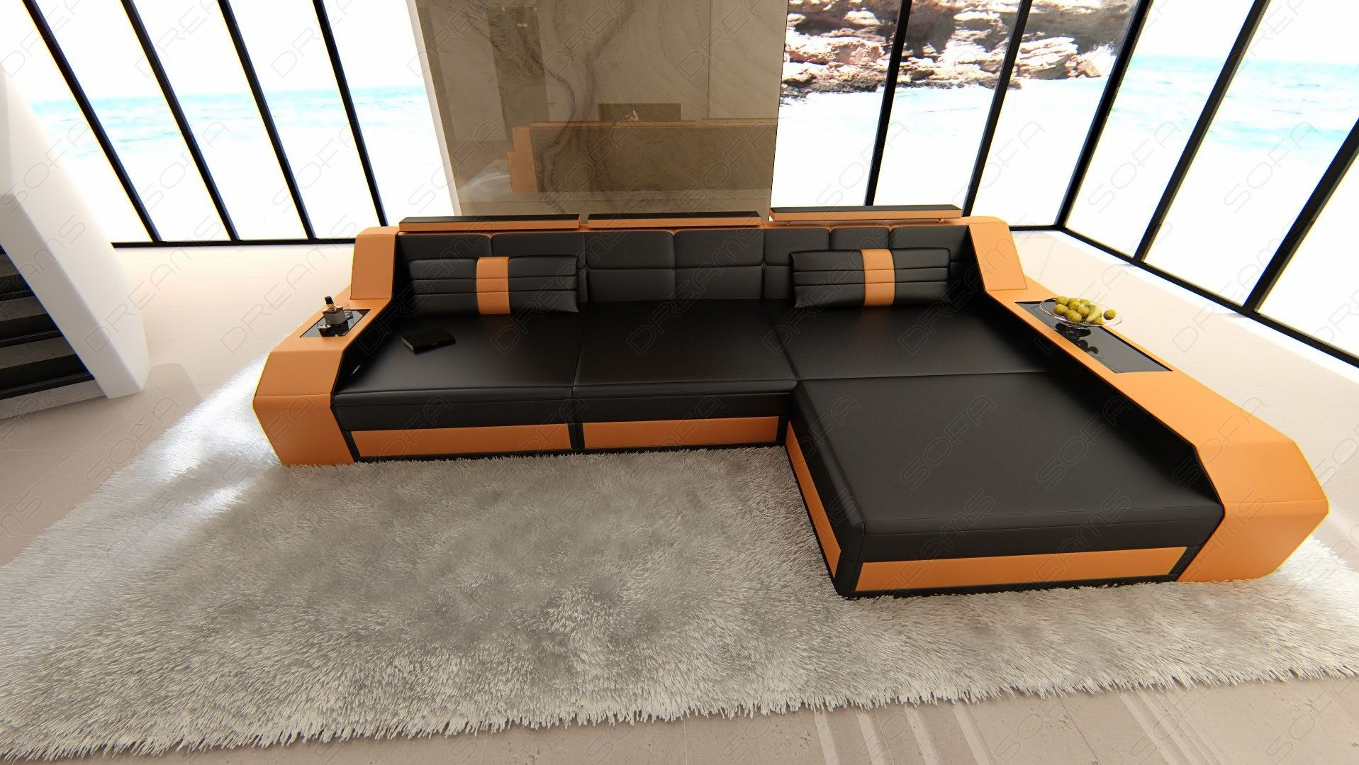 modern sectional sofa arezzo l shaped with led lights black orange. Black Bedroom Furniture Sets. Home Design Ideas
