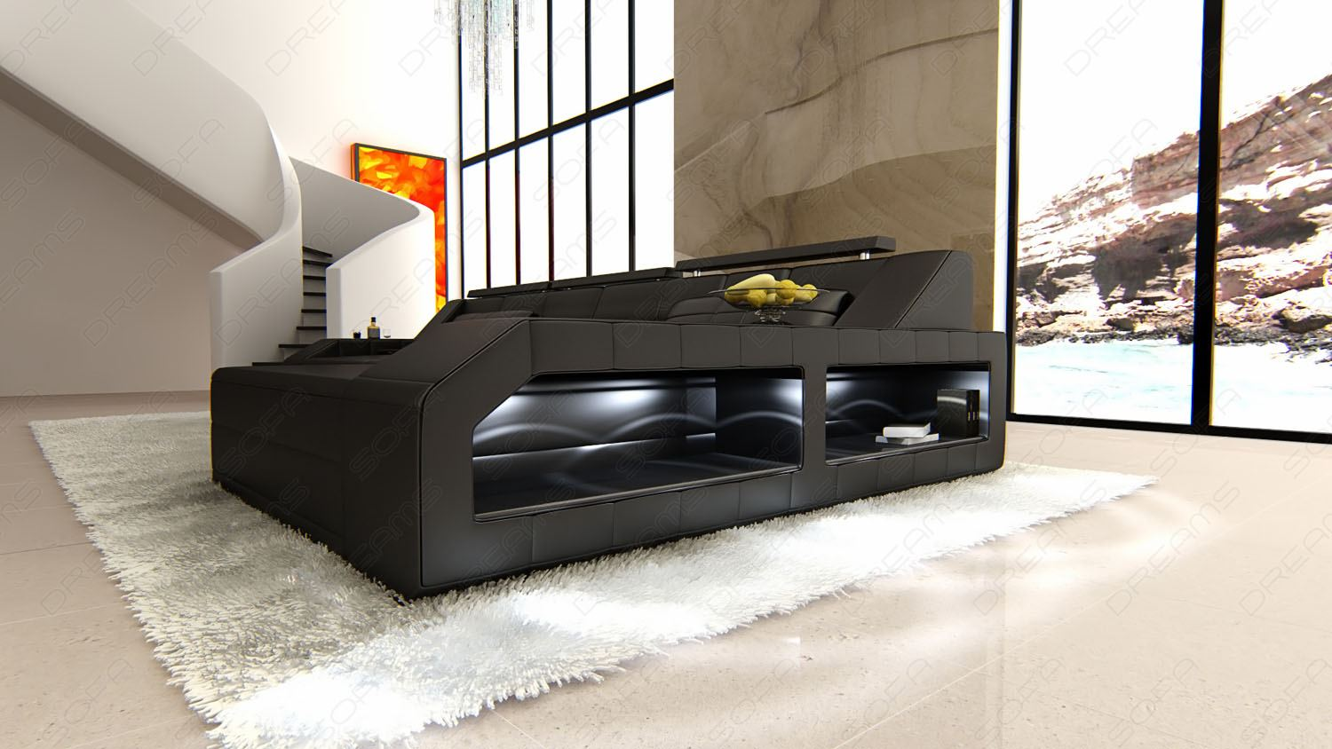 modern sectional sofa arezzo l shaped with led lights black black ebay. Black Bedroom Furniture Sets. Home Design Ideas