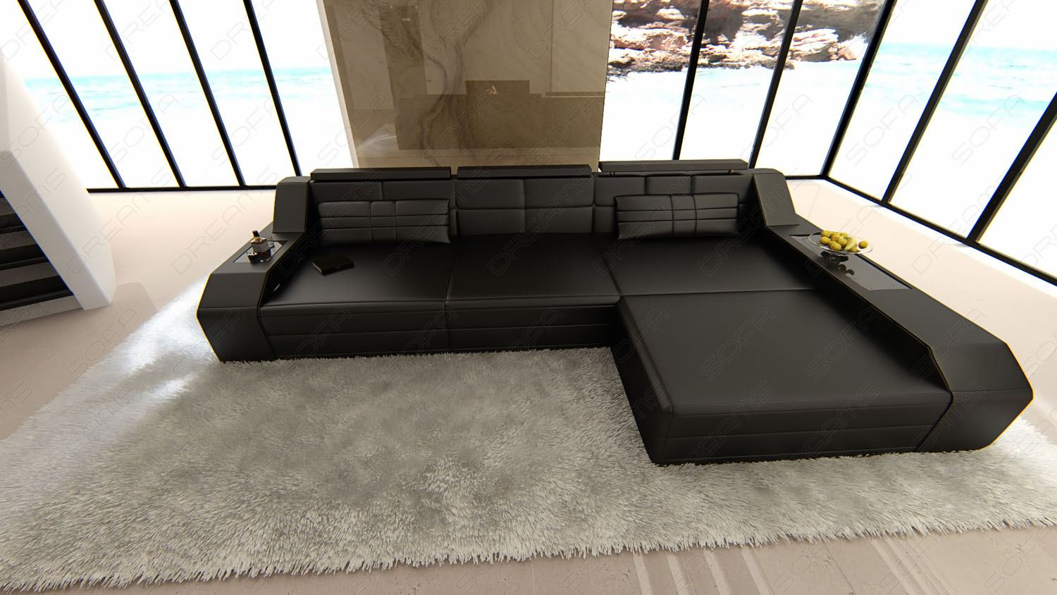 modern sectional sofa arezzo l shaped with led lights. Black Bedroom Furniture Sets. Home Design Ideas